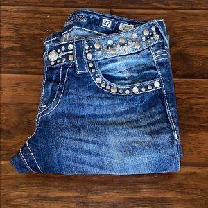 Miss Me Bling Embellished Blue Denim Jeans